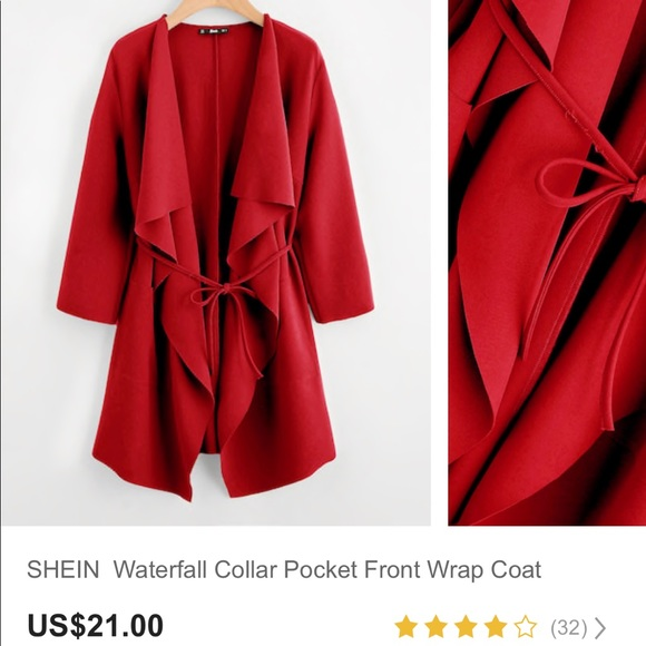 TOPUNDER Casual Waterfall Collar Pocket Front Wrap Coat Jacket Outwear Women